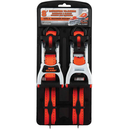 Erickson 1 In. x 8 Ft. Ratchet Strap with Web Clamp (2-Pack)