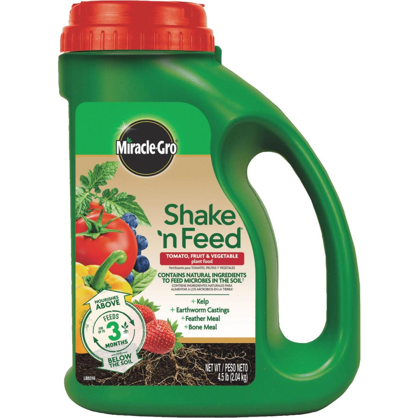 Miracle-Gro Shake N' Feed 4.5 Lb. 9-4-12 Tomato, Fruits & Vegetables Plus Calcium Dry Plant Food Image 1