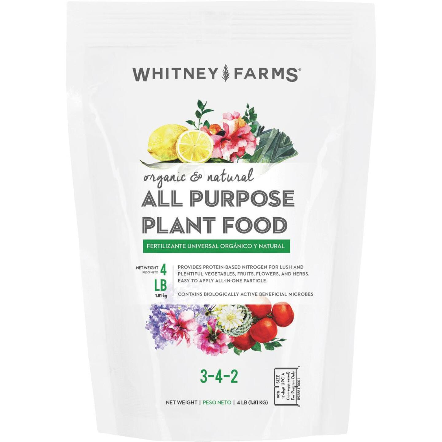 Whitney Farms 4 Lb. 3-4-2 Organic & Natural All-Purpose Dry Plant Food Image 1
