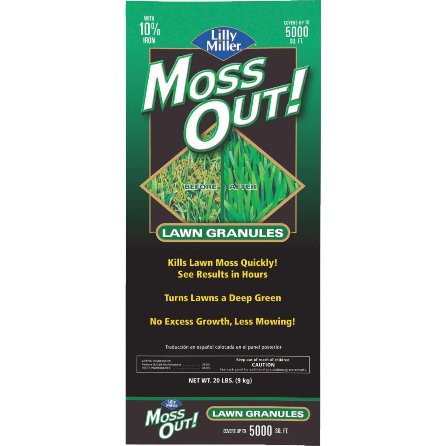 Lilly Miller MOSS OUT! 20 Lb. Ready To Use Granules Moss & Algae Killer Image 1
