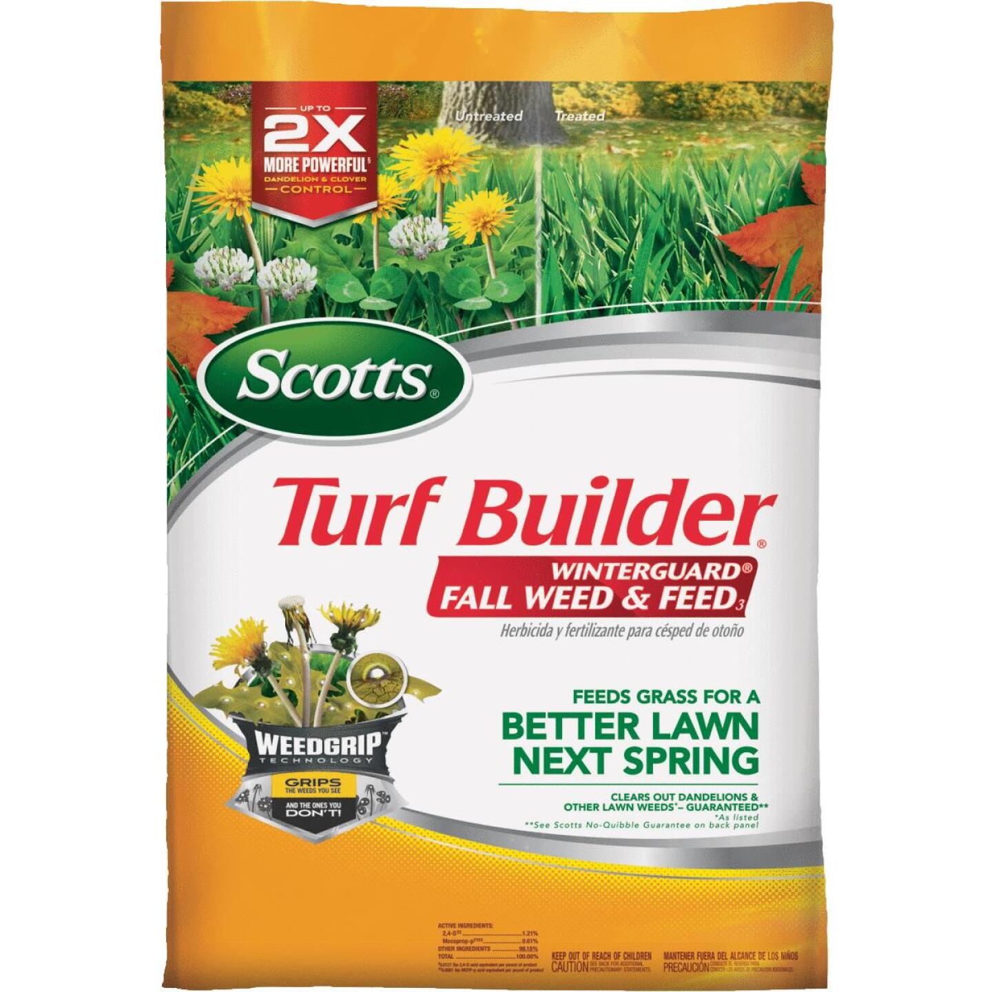 Scotts Turf Builder WinterGuard Weed & Feed 14.29 Lb. 5000 Sq. Ft. 28-0-6 Winterizer Fall Fertilizer Image 1