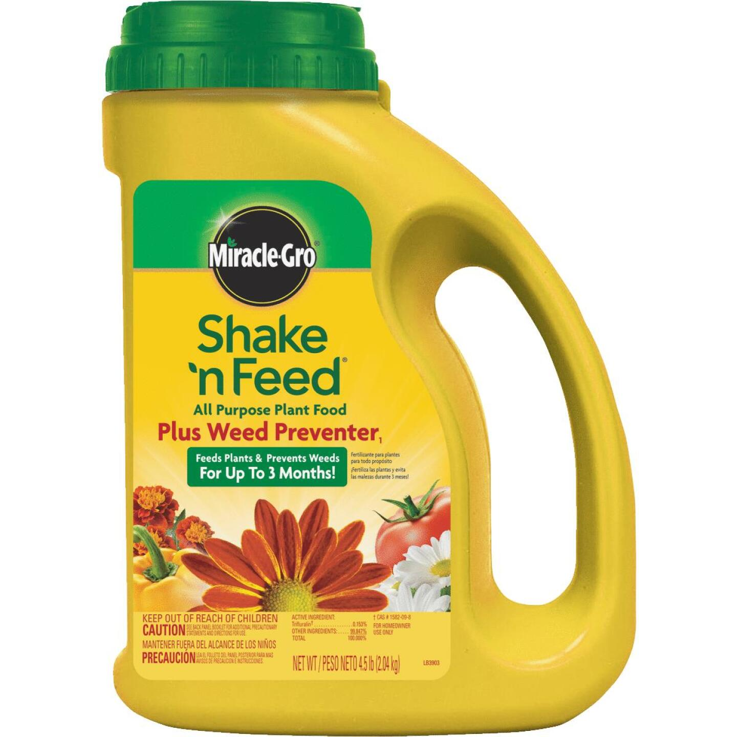 Miracle-Gro Shake N' Feed 4.5 Lb. 10-10-10 All-Purpose Dry Plant Food Plus Grass & Weed Preventer Image 1